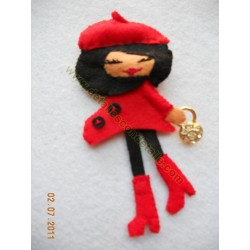 Broche de fieltro muñeca francesita nº4